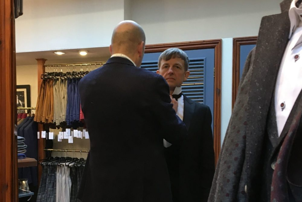 F1 commentator and racing driver Ben Edwards being fitted for a tailored tuxedo at Trotter & Deane in Bury St Edmunds