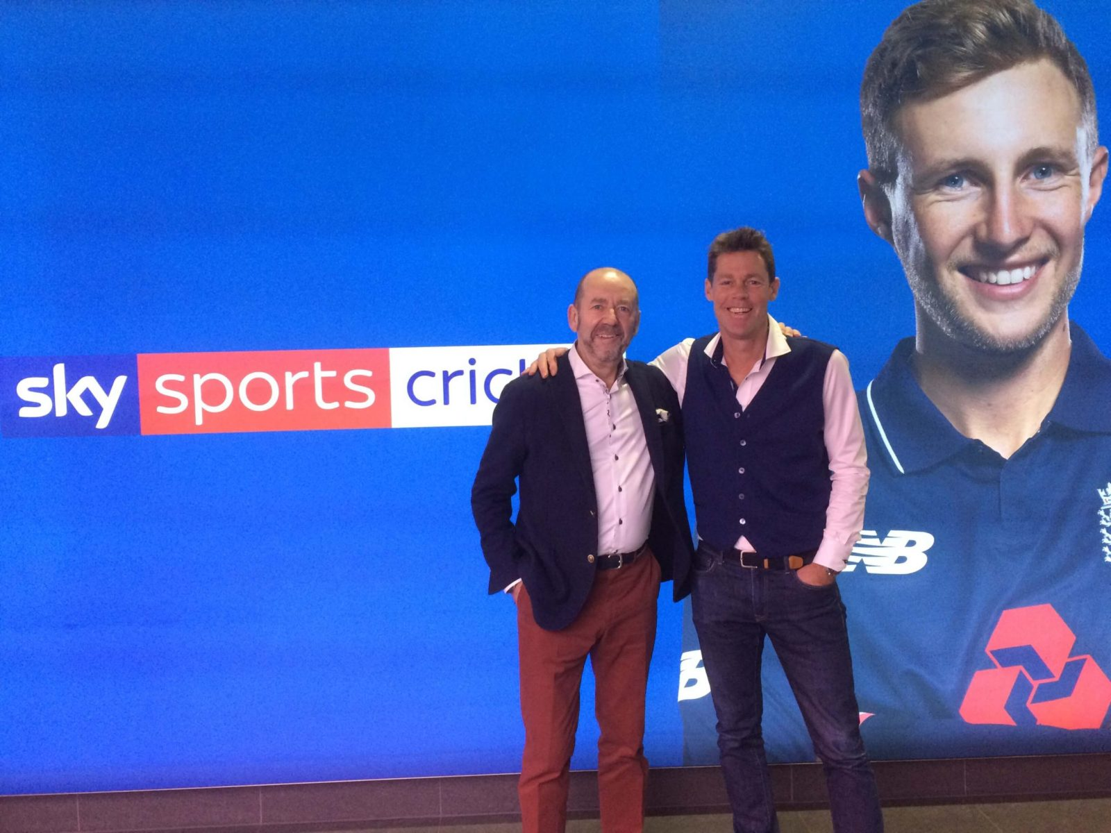 John Deane-Bowers sharing menswear tips with Nick Knight at Sky Sports Cricket HQ