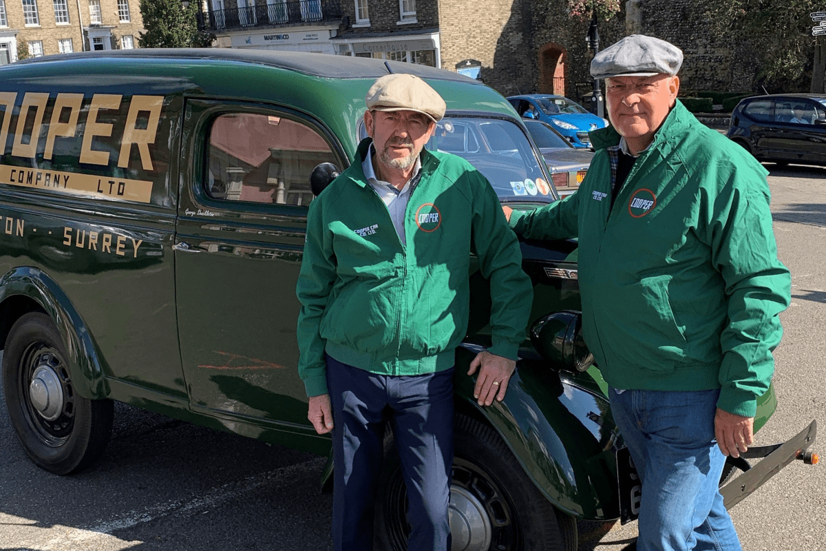 John Deane-Bowers and Robin Shackleton, team principal of Cooper Car Company in period jackets