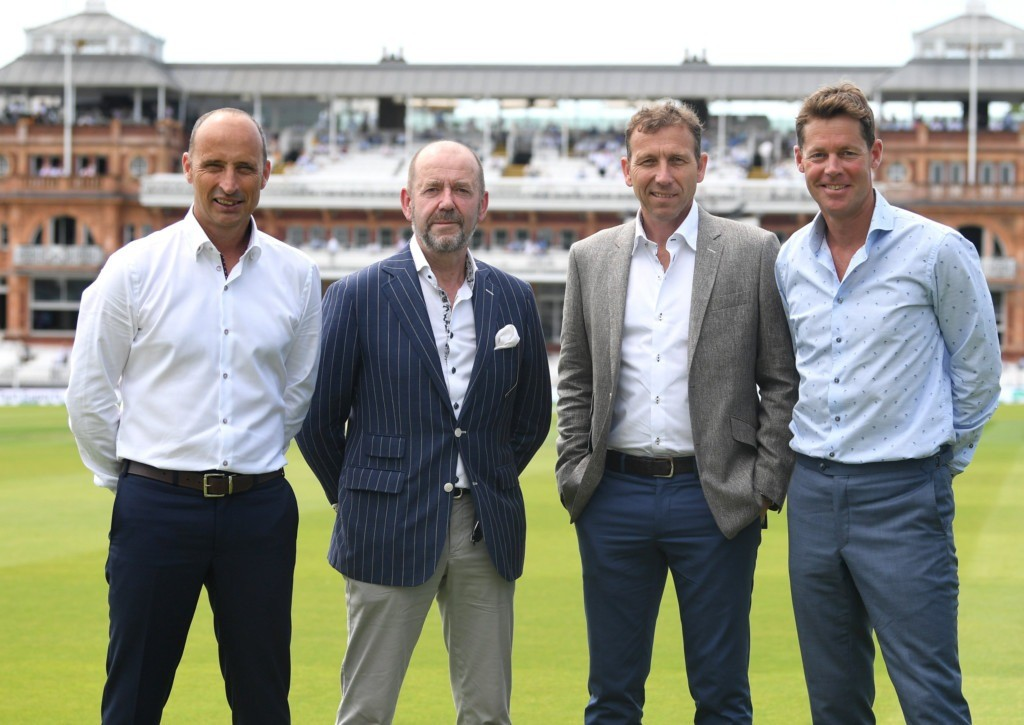Nasser Hussain OBE, John Deane-Bowers of Trotter and Deane, Mike Atherton OBE and Nick Knight wearing Trotter & Deane menswear at Lord's cricket ground