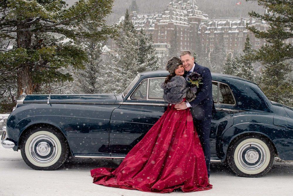 Snowy wedding with Rolls Royce and bespoke menswear from Trotter & Deane