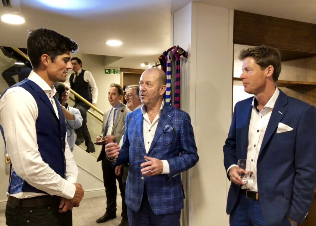 Owner John Deane-Bowers talking to Trotter & Deane brand ambassadors Alastair Cook and Nick Knight